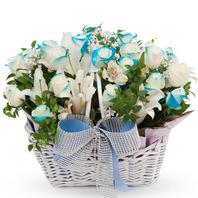 [플라워포유] 블루빛 (RM_RAC6119) [꽃바구니/결혼기념일/크리스마스/프로포즈/화이트데이/발렌타인데이]