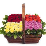 [플라워포유] 4색 장미 (RM_RAC9060) [꽃바구니/결혼기념일/크리스마스/프로포즈/화이트데이/발렌타인데이]